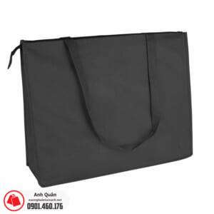 Túi vải không dệt có dây kéo màu đen