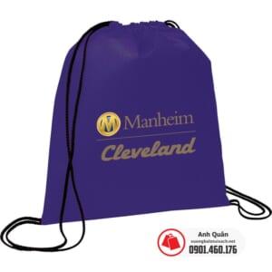 Túi vải không dệt rút dây Manheim-Cleveland tím