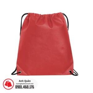 Túi vải không dệt dây rút xỏ khoen màu đỏ