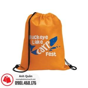 Túi vải không dệt dây rút xỏ tai Buck-eye-lake-care-fest