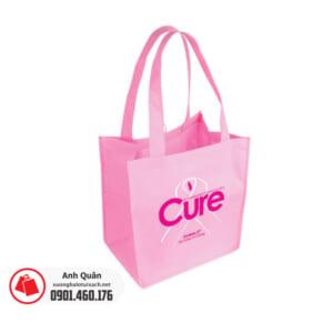 Túi vải không dệt có quai xách màu hồng in logo Cures