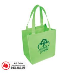 Túi vải không dệt có quai xách màu xanh in logo Animal Hospital
