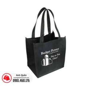 Túi vải không dệt có quai xách màu đen in logo Budget Power