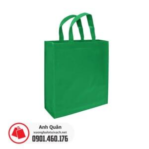 Túi vải không dệt có quai xách trơn - màu xanh lá cây