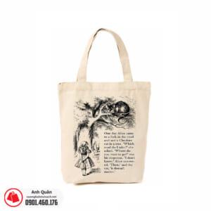 Túi vải bố in chuyển nhiệt Alice-in-Wonderland 01
