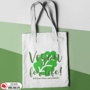 Túi vải bố in chuyển nhiệt Vegan-for-life