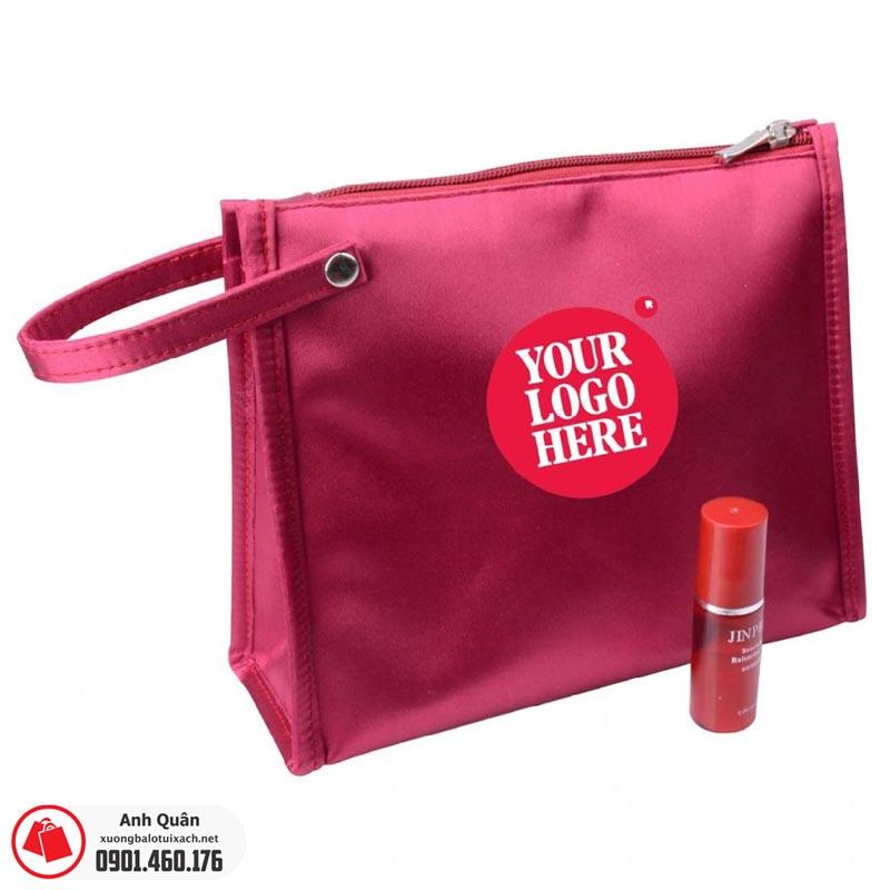 Túi đựng mỹ phẩm in logo màu đỏ
