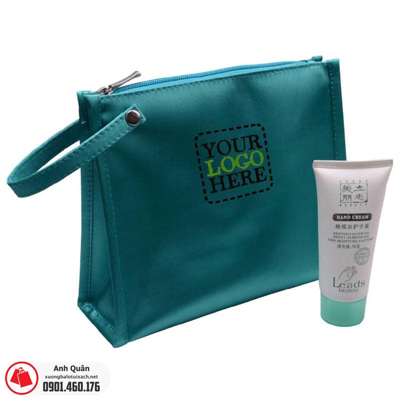Túi đựng mỹ phẩm in logo màu xanh lá