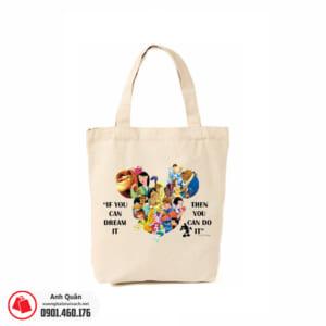 Túi vải bố in chuyển nhiệt Princess-of-Disney