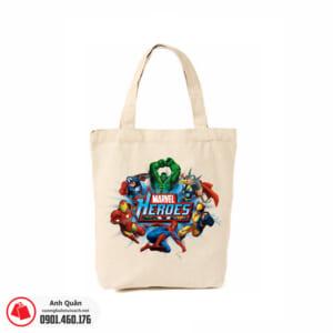 Túi vải bố in chuyển nhiệt Marvel-Heroes