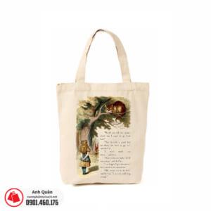 Túi vải bố in chuyển nhiệt Alice-in-Wonderland