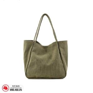 Túi vải bố đeo chéo màu xanh rêu