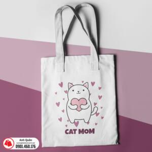 Túi vải bố in chuyển nhiệt Cat-mom