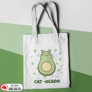 Túi vải bố in chuyển nhiệt Cat-Avocado