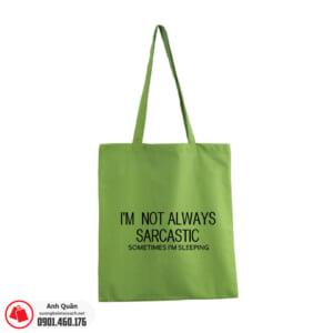 Túi vải bố in lụa Slogan màu xanh