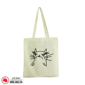 Túi vải bố in lụa mặt mèo màu trắng