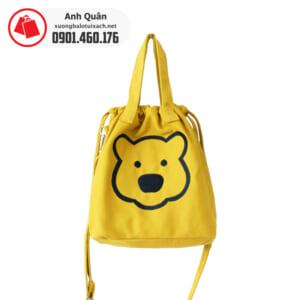 Túi rút đeo chéo hình gấu màu vàng